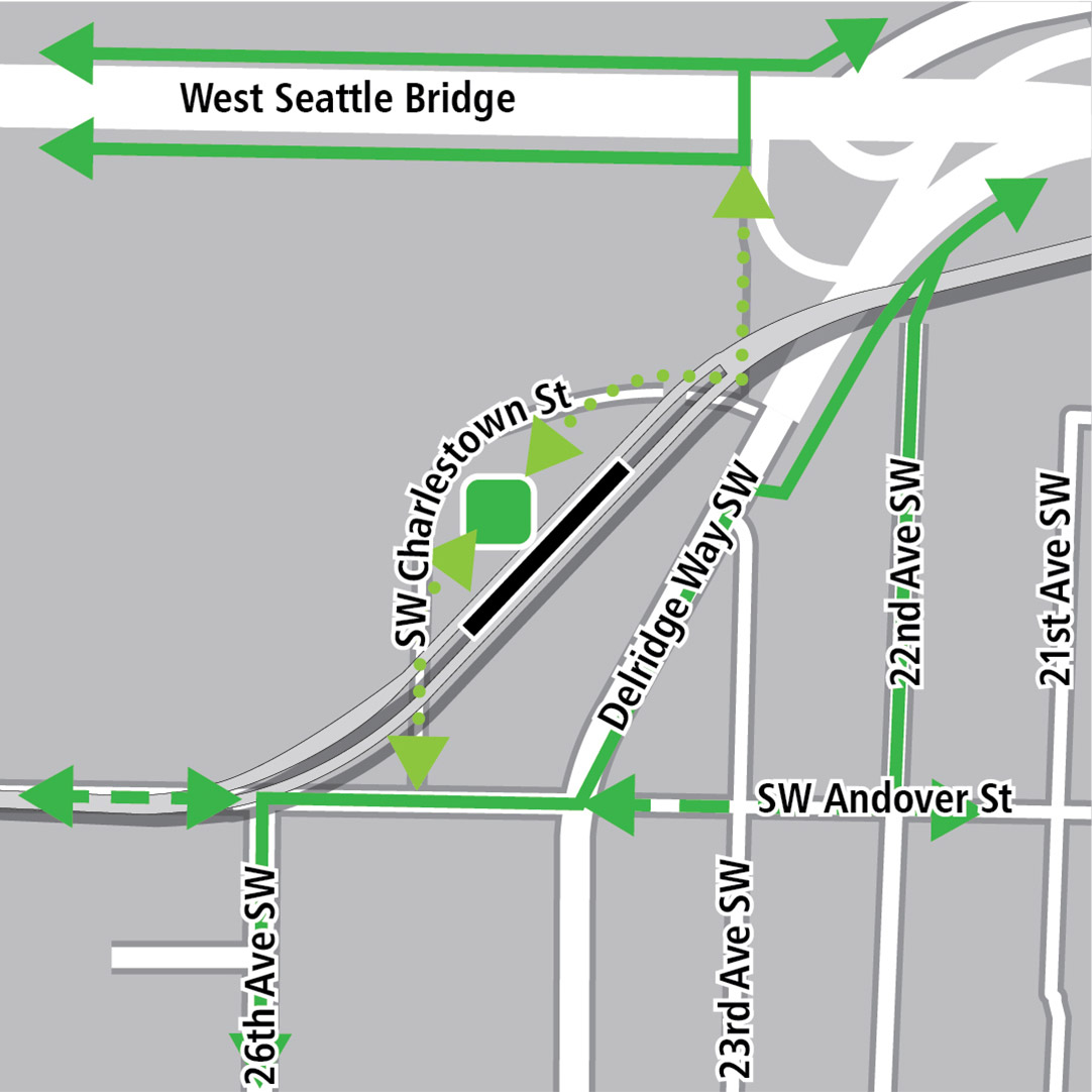 Map with black rectangle indicating station location north of Southwest Andover Street on a diagonal that roughly parallels Delridge Way Southwest, green lines indicating existing bike routes, dashed green lines for planned bike routes and green squares indicating bike storage areas. Additional dotted green lines indicate potential bike connections along Southwest Charlestown Street to the Alki Trail.