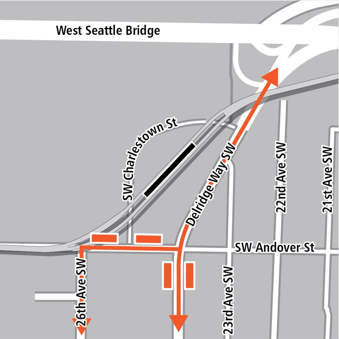 地圖上黑色長方形表示位於Southwest Andover Street以北,大致與Delridge Way Southwest平行的對角線方向上的車站位置,橙色長方形表示公車站,橙色線條表示26th Avenue Southwest、Southwest Andover Street和Delridge Way Southwest的公車路線。