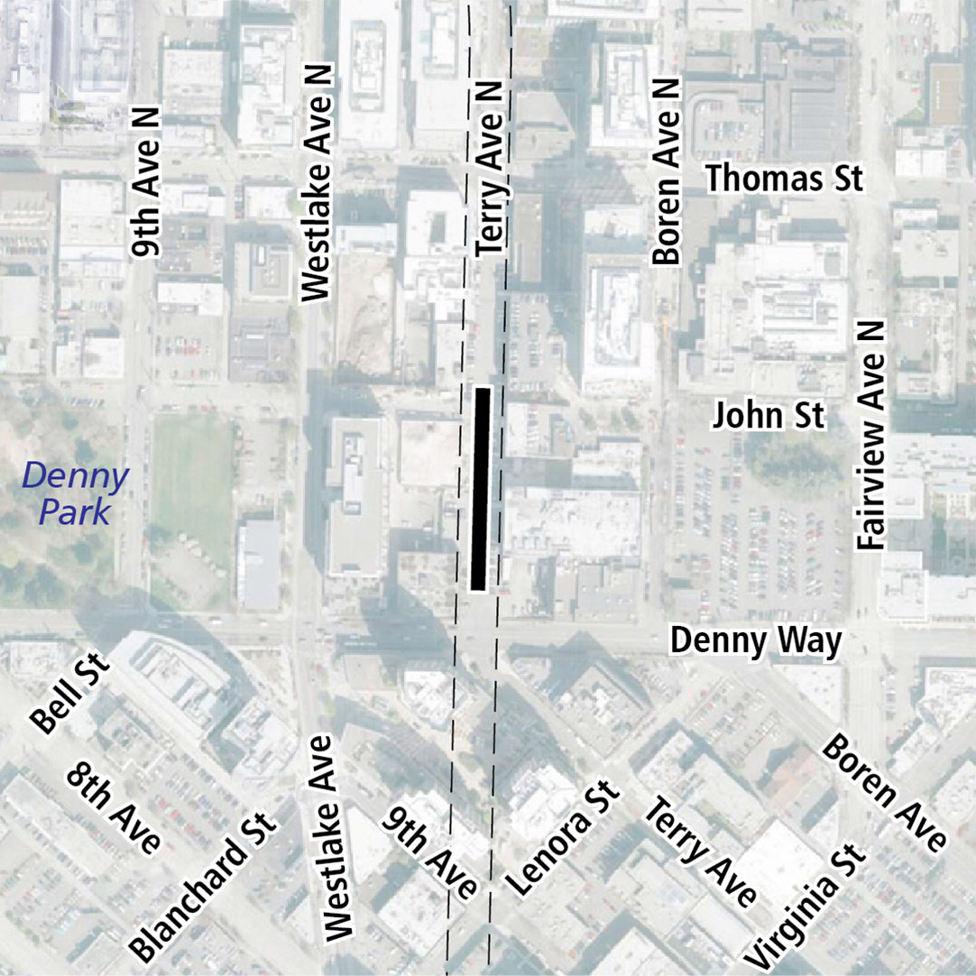 Map with black rectangle indicating station location on Terry Avenue North. Map labels show Denny Park nearby.