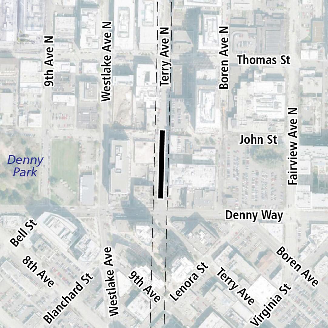 Vẽ bản đồ có hình chữ nhật màu đen biểu thị vị trí trạm ga Terry Avenue North. Nhãn ký hiệu trên bản đồ biểu thị Denny Park gần đó.