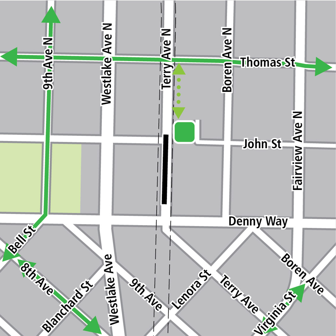 Map with black rectangle indicating station location on Terry Avenue North, green lines indicating existing bike routes, a dashed light green line indicating a potential bike connection on Terry Avenue North and a green square indicating a bike storage area.