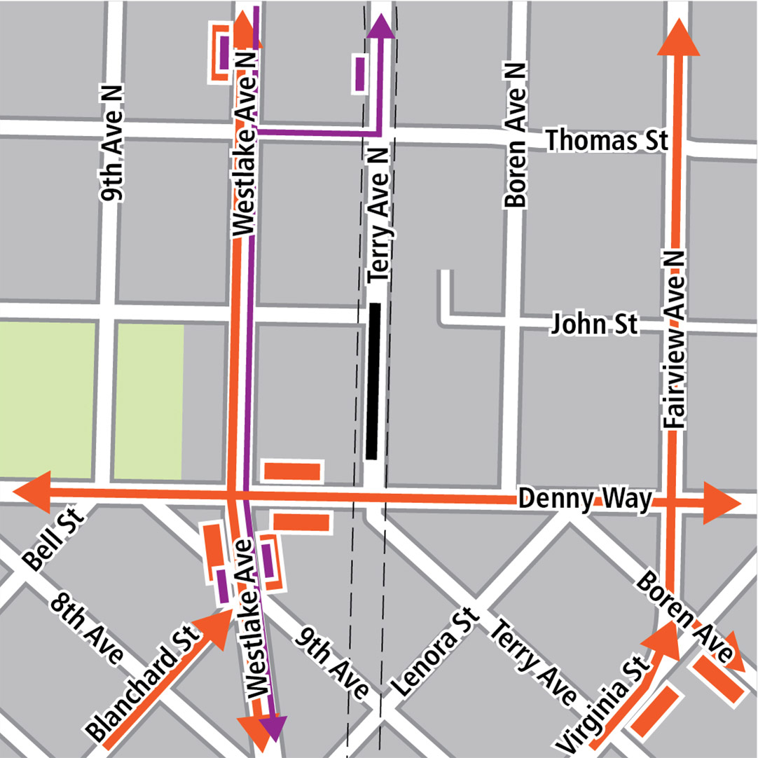 Map with black rectangle indicating station location on Terry Avenue North, orange rectangles indicating bus stops, orange lines indicating bus routes, purple rectangles indicating streetcar stops and purple lines indicating streetcar routes.