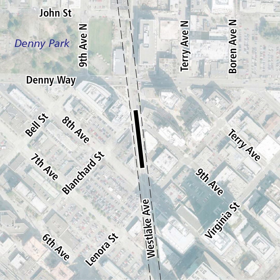 Map with black rectangle indicating station location on Westlake Avenue. Map labels show Denny Park nearby.