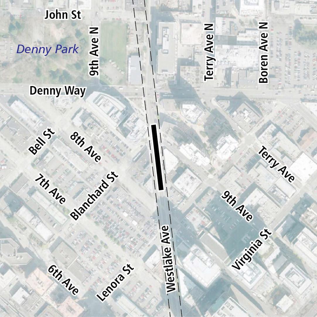 Vẽ bản đồ có hình chữ nhật màu đen biểu thị vị trí trạm ga Westlake Avenue. Nhãn ký hiệu trên bản đồ biểu thị Denny Park gần đó.