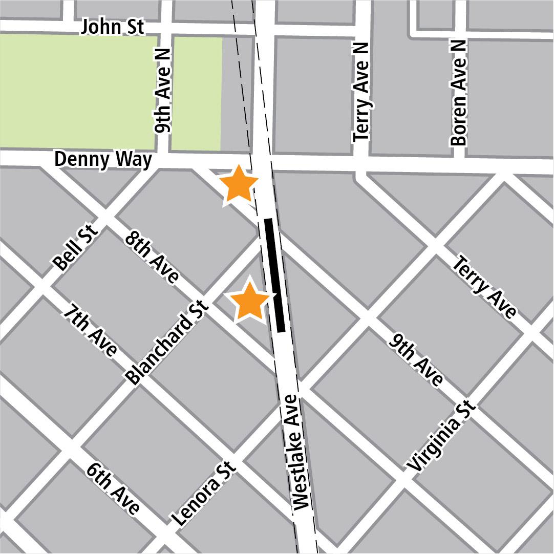 Vẽ bản đồ có hình chữ nhật màu đen biểu thị vị trí trạm ga ở Westlake Avenue và các ngôi sao màu vàng biểu thị hai khu vực vào trạm ga.