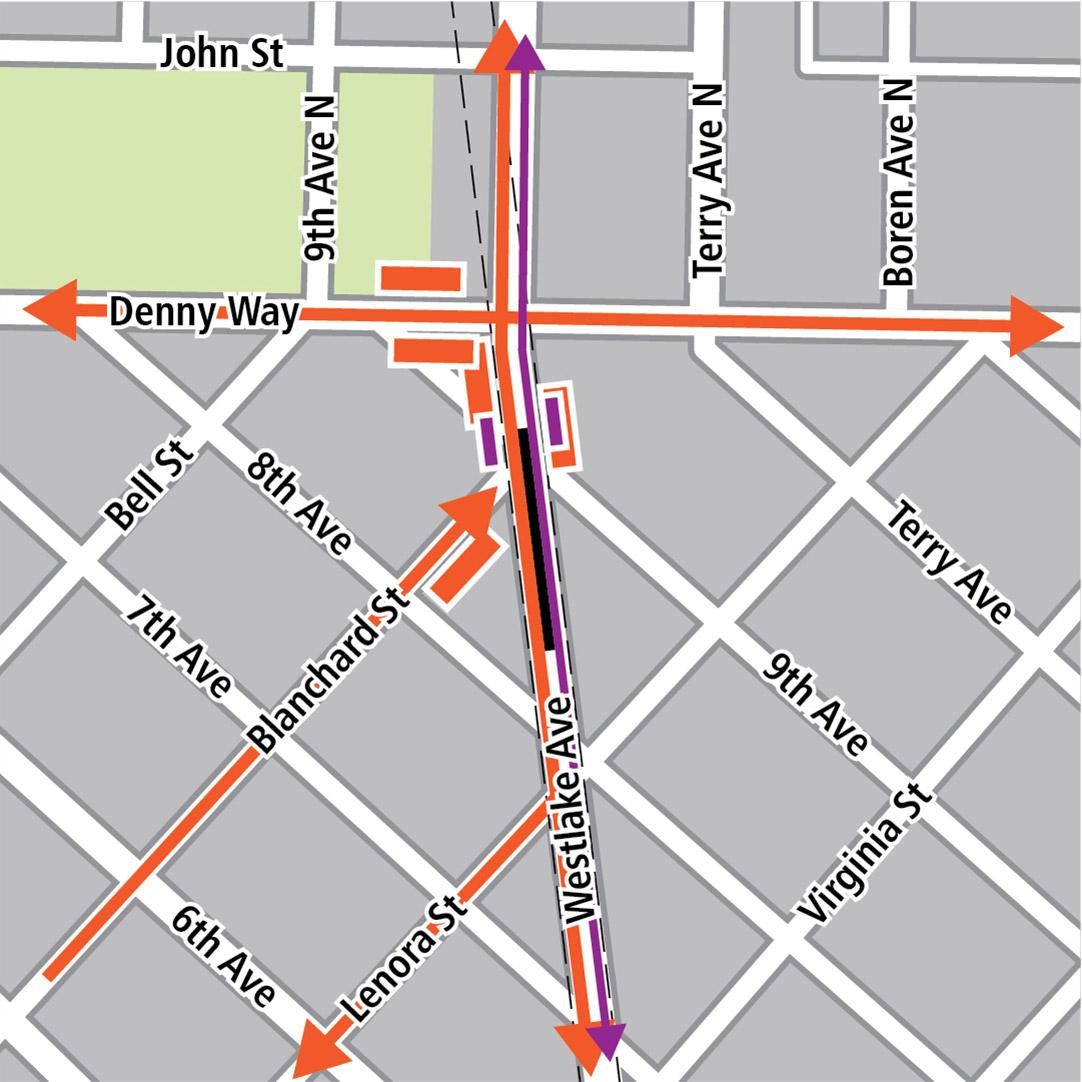 Vẽ bản đồ có hình chữ nhật màu đen biểu thị vị trí trạm ga trên Westlake Avenue, hình chữ nhật màu cam biểu thị các tuyến xe buýt, hình chữ nhật màu tím biểu thị các điểm dừng tàu điện và vạch màu tím biểu thị các tuyến đường tàu điện.