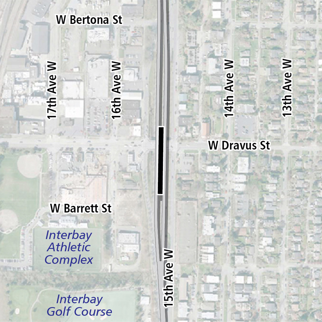 Map with black rectangle indicating station location on 15th Avenue West. Map labels show Interbay Athletic Complex and Interbay Golf Course nearby.
