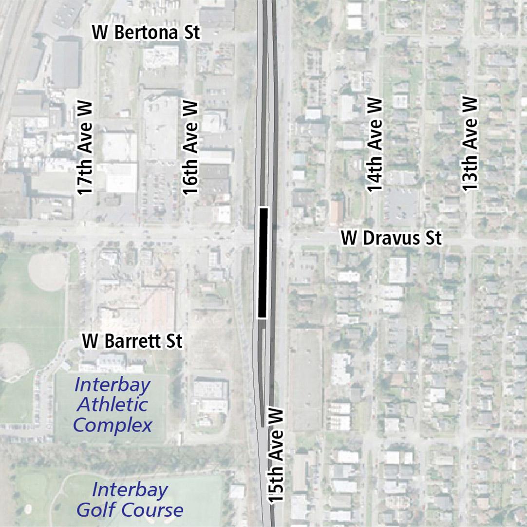 Vẽ bản đồ có hình chữ nhật màu đen biểu thị vị trí trạm ga 15th Avenue West. Nhãn ký hiệu trên bản đồ biểu thị Khu Phức Hợp Thể Thao Interbay và Sân Golf Interbay gần đó.