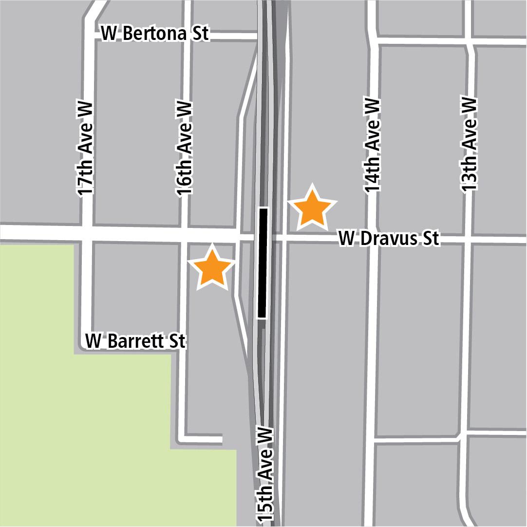 地圖上黑色長方形表示15th Avenue West的車站位置,而黃色星號則表示兩個車站的入口區域。