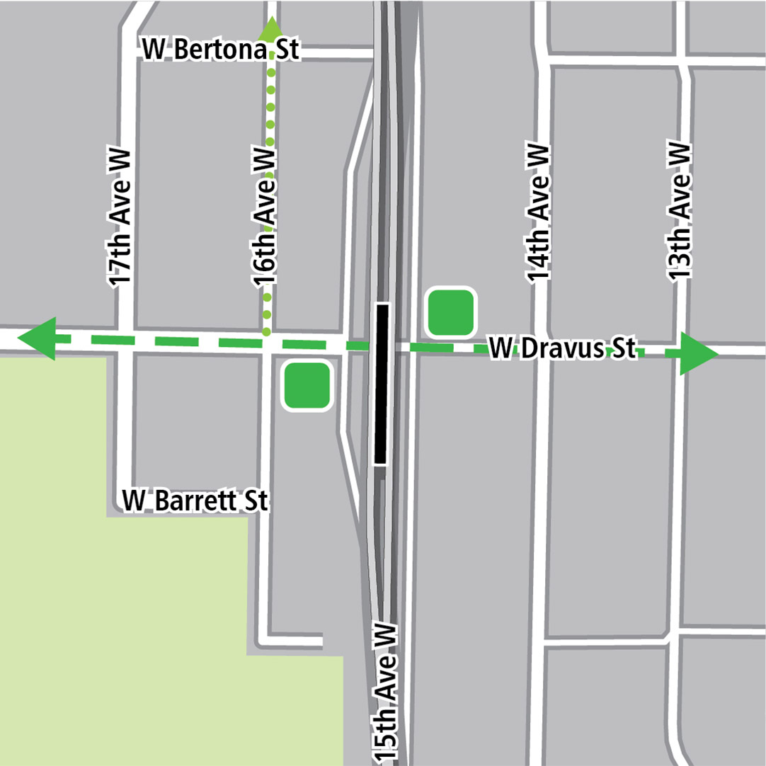 Map with black rectangle indicating station location on 15th Avenue West, a dashed green line indicating a planned bike route and green squares indicating bike storage areas.