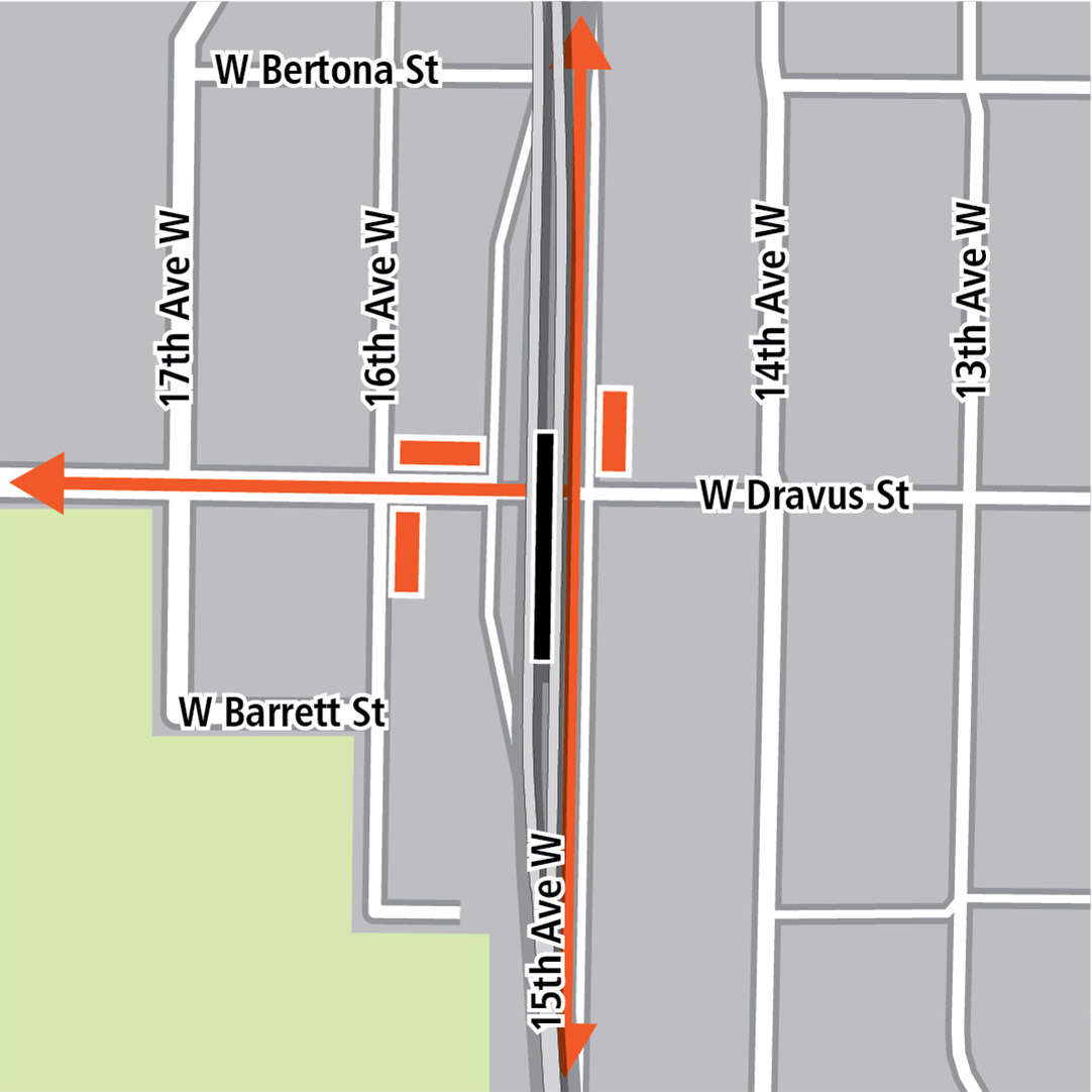 Map with black rectangle indicating station location on 15th Avenue West, orange rectangles indicating bus stops and orange lines indicating bus routes on 15th Avenue West and West Dravus Street.