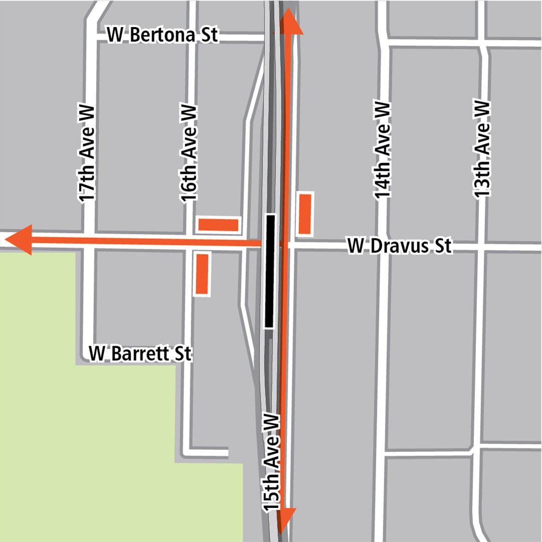Mapa con rectángulo negro que indica la ubicación de la estación en 15th Avenue West, rectángulos anaranjados que indican paradas de autobús y líneas anaranjadas que indican rutas de autobús en 15th Avenue West y West Dravus Street.