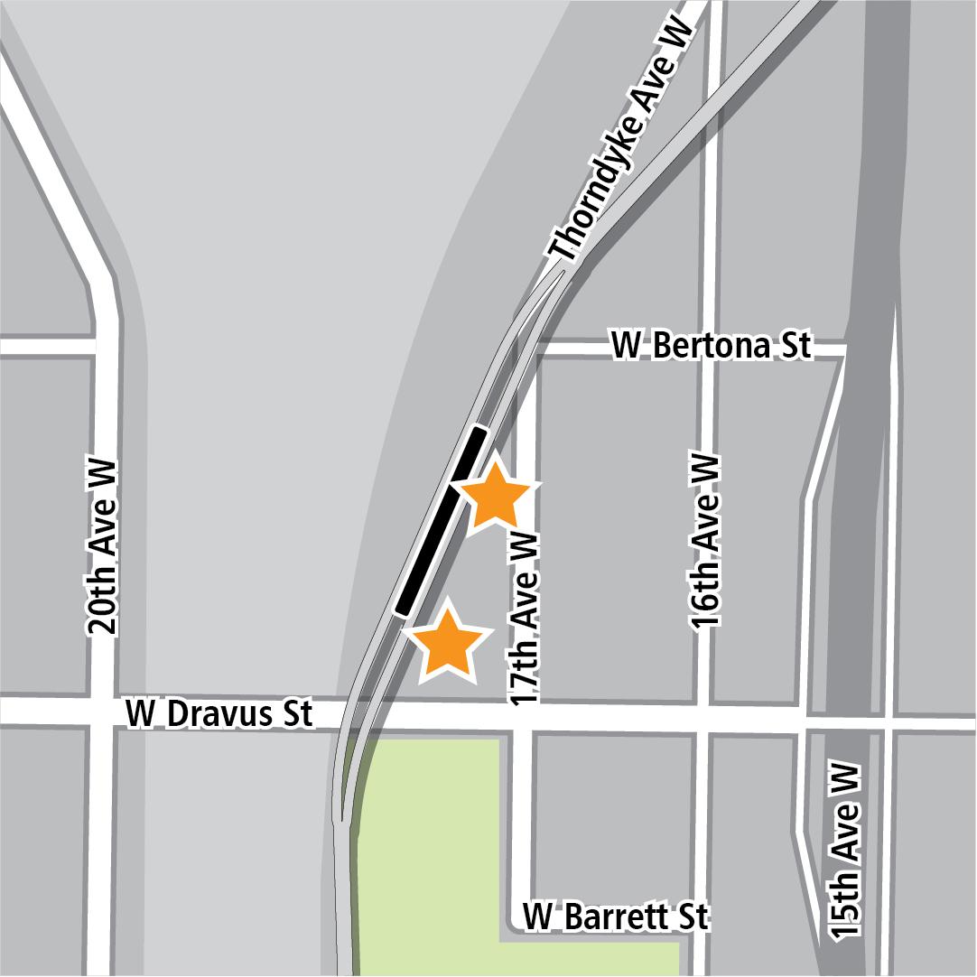 Vẽ bản đồ có hình chữ nhật màu đen biểu thị vị trí trạm ga gần 17th Avenue West và các ngôi sao màu vàng biểu thị hai khu vực vào trạm ga.