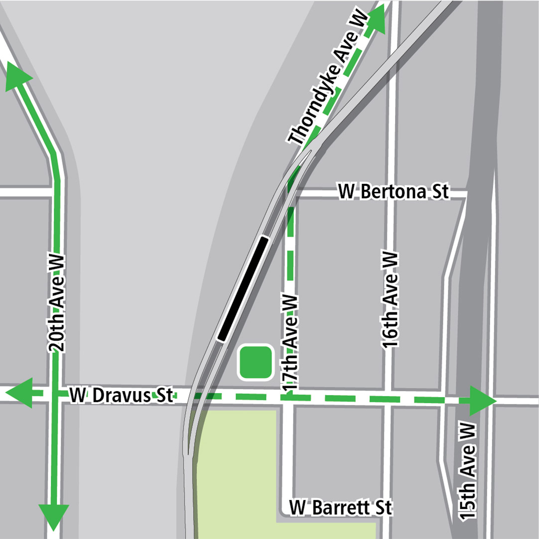 Map with black rectangle indicating station location near 17th Avenue West, green lines indicating existing bike routes on 20th Avenue West, a dashed green line indicating a planned bike route on W Dravus St and a green square indicating a bike storage area.
