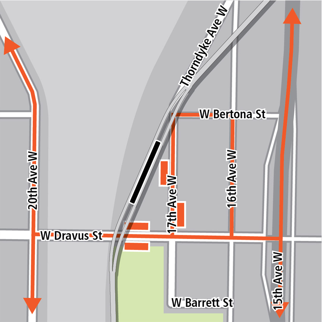 Map with black rectangle indicating station location near 17th Avenue West, orange rectangles indicating bus stops and orange lines indicating bus routes on 15th Avenue West, 16th Avenue West, 17th Avenue West, 20th Avenue West and West Dravus Street.