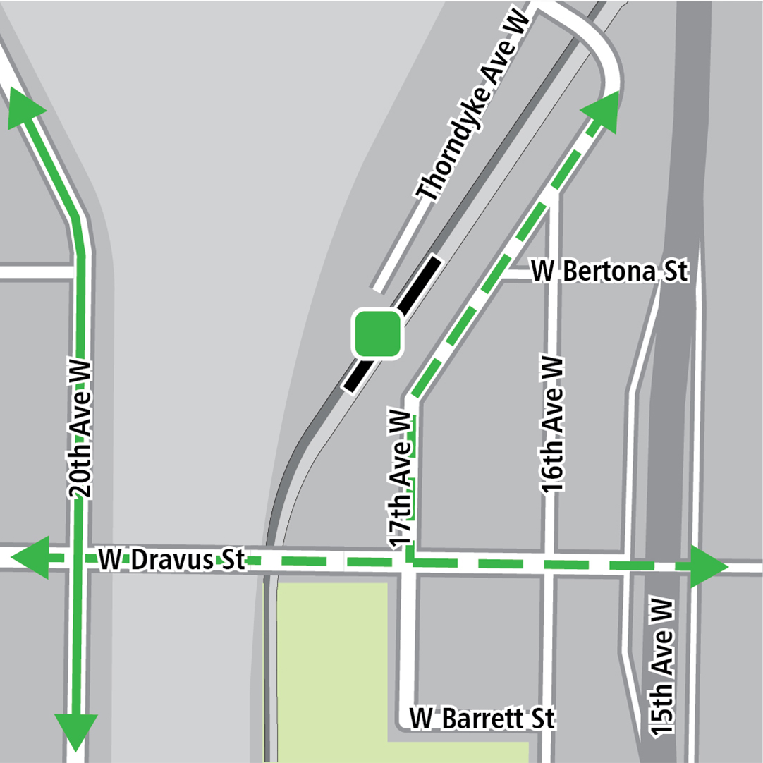 Map with black rectangle indicating station location on 17th Avenue West, green lines indicating existing bike route on 20th Avenue West, dashed green lines for planned bike routes and a green square indicating a bike storage area.