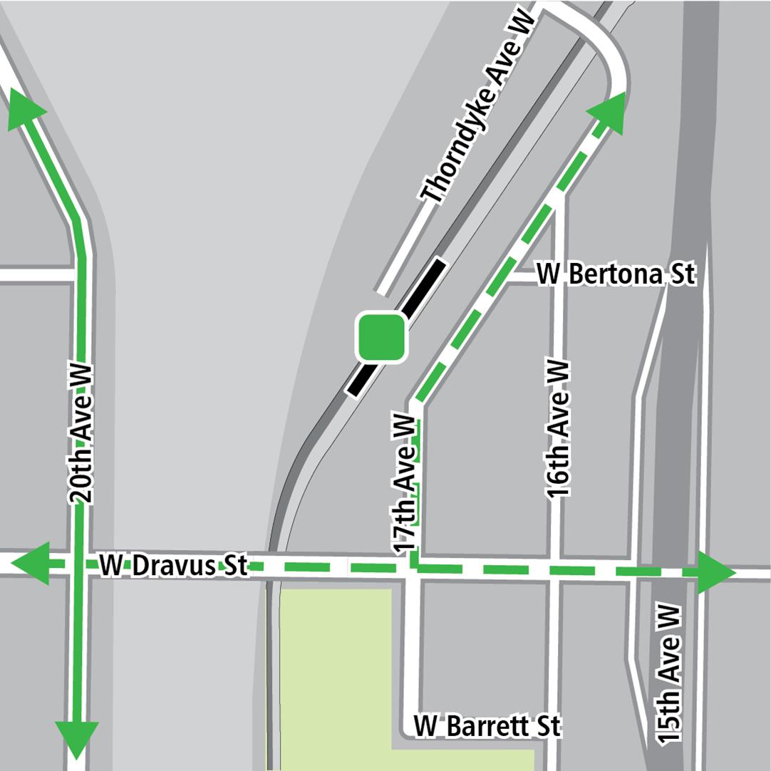 Mapa con rectángulo negro que indica la ubicación de la estación en 17th Avenue West, líneas verdes que indican la ciclovía existente en 20th Avenue West, líneas verdes discontinuas para las ciclovías planeadas y un cuadro verde que indica un área de almacenamiento de bicicletas.
