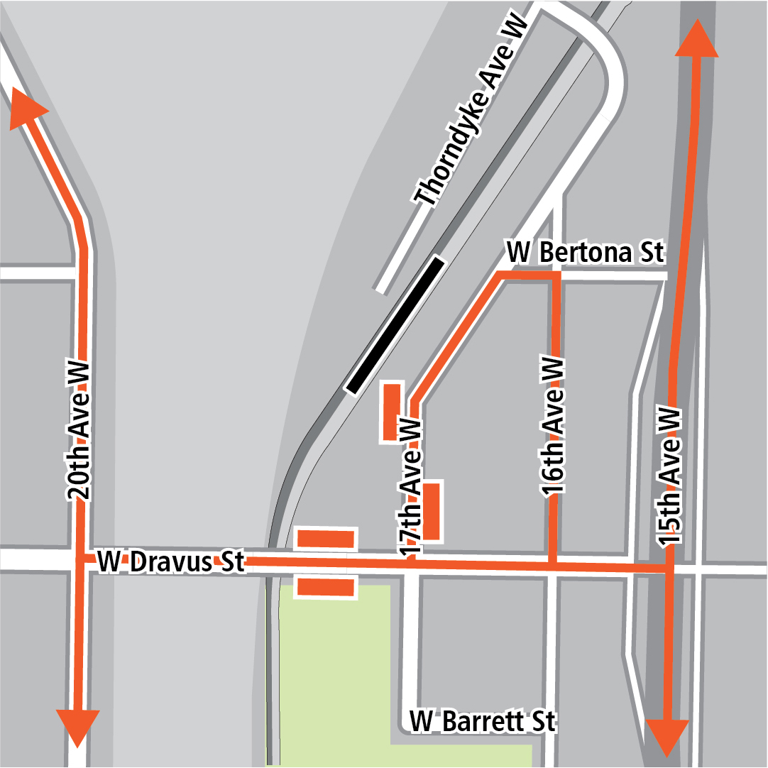 Map with black rectangle indicating station location on 17th Avenue West, orange rectangles indicating bus stops and orange lines indicating bus routes on 15th Avenue West, 16th Avenue West, 17th Avenue West, 20th Avenue West and West Dravus Street.