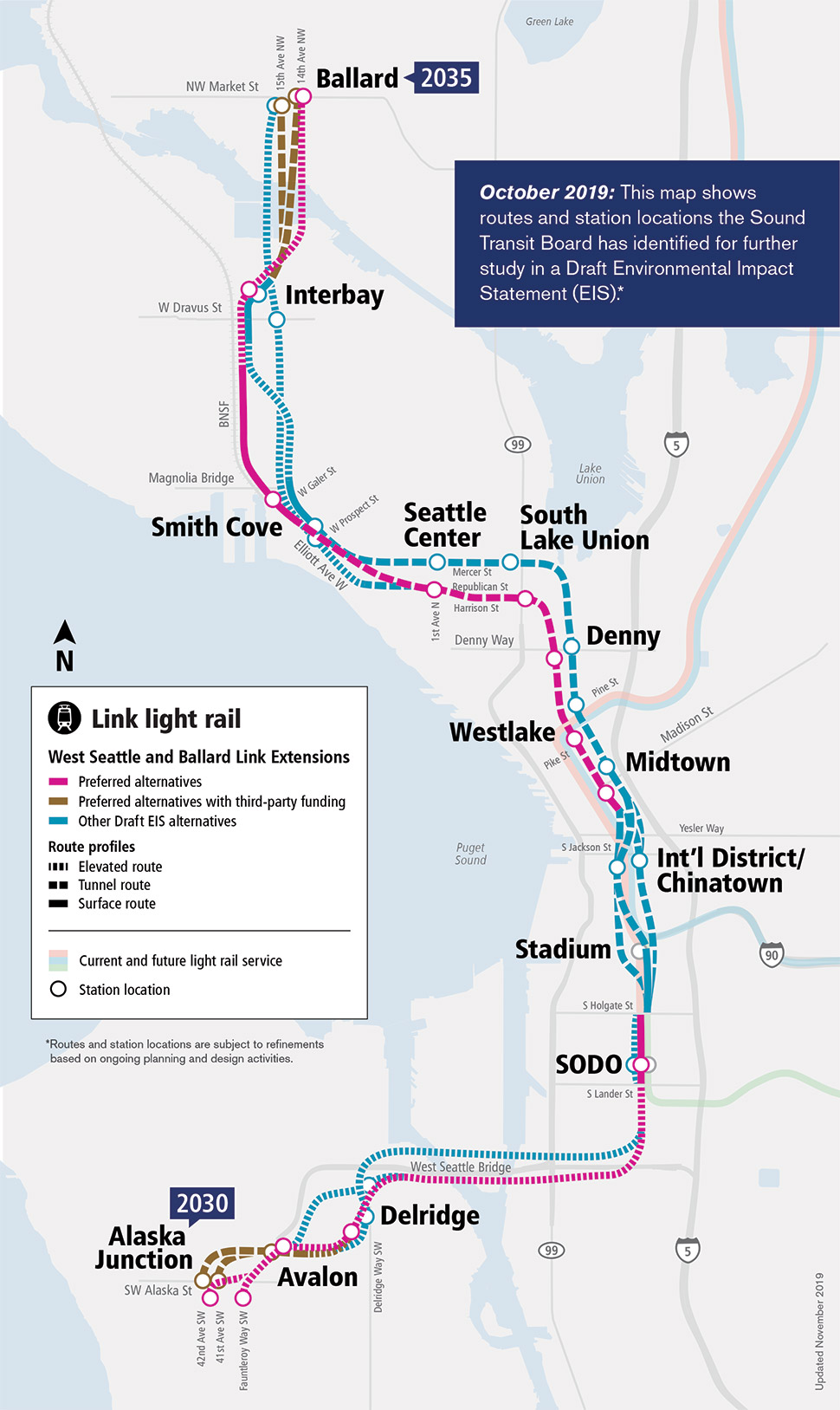 A map featuring route and station location options the Sound Transit Board identified for further study in the draft environmental impact statement, including preferred alternatives, preferred alternatives with third party funding and other draft environmental impact statement alternatives.