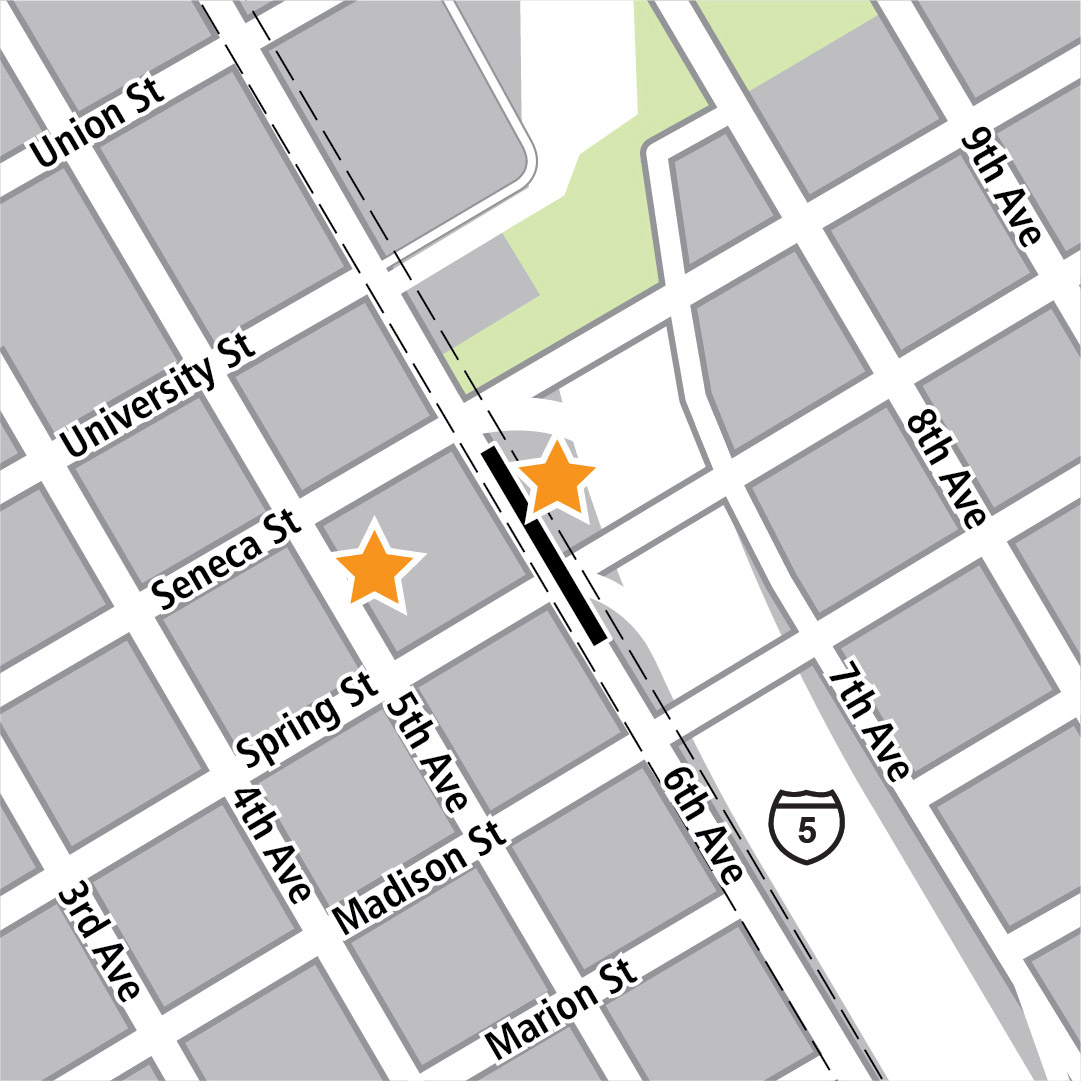Map with black rectangle indicating station location on 6th Avenue and yellow stars indicating two station entry areas.