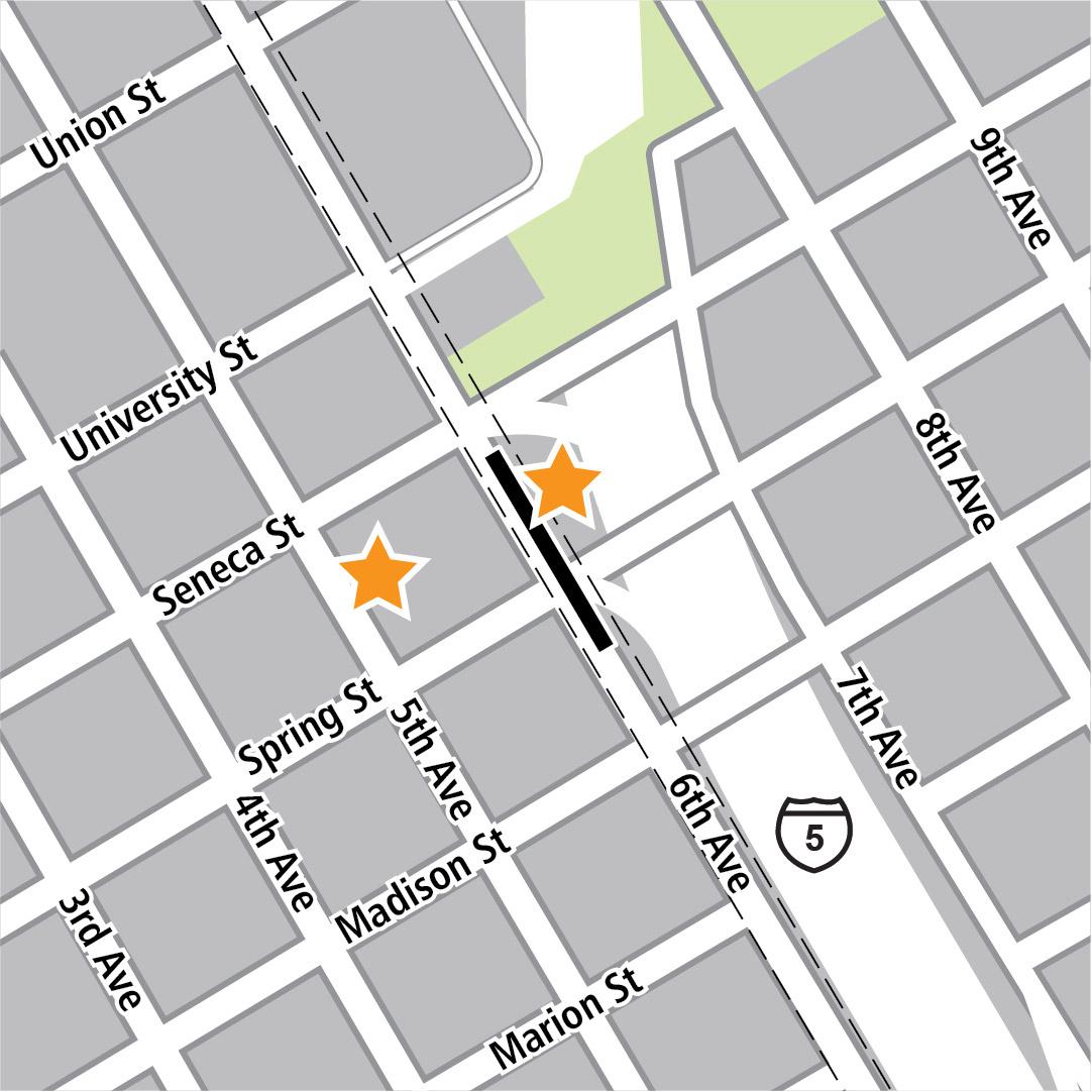 Vẽ bản đồ có hình chữ nhật màu đen biểu thị vị trí trạm ga ở 6th Avenue và các ngôi sao màu vàng biểu thị hai khu vực vào trạm ga.