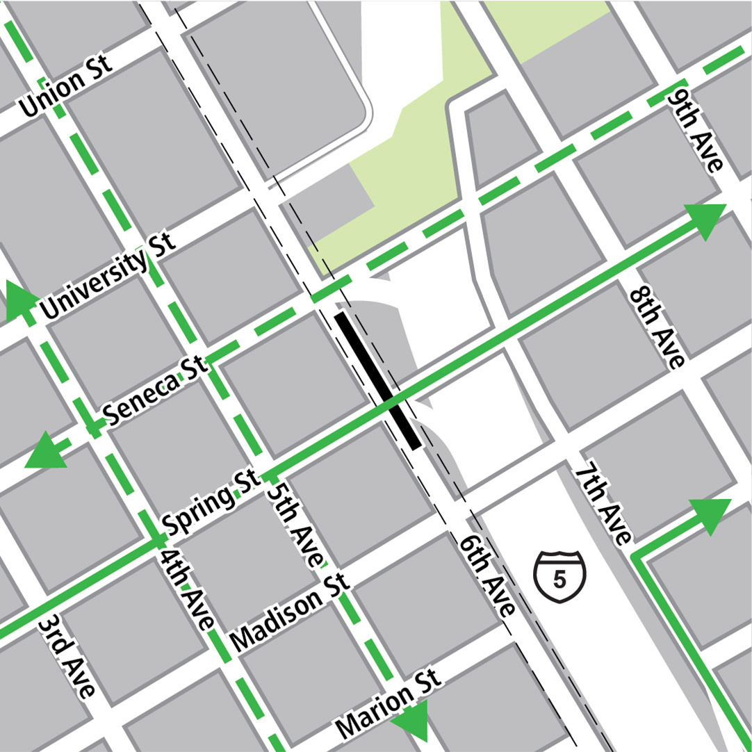 Map with black rectangle indicating station location on 6th Avenue, green lines indicating existing bike routes, dashed green lines for planned bike routes and green squares indicating bike storage areas.