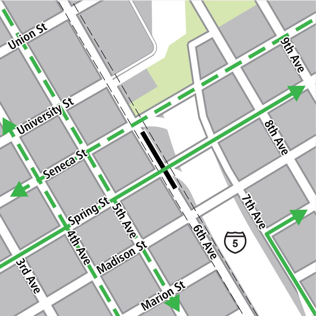 地圖中黑色長方形表示6th Avenue的車站位置,綠色實線表示現有的自行車路線,綠色虛線表示已規劃的自行車路線,而綠色方塊則表示自行車停放區。