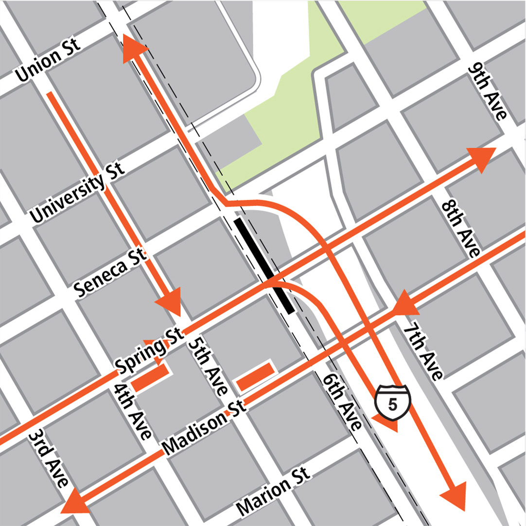 Map with black rectangle indicating station location on 6th Avenue, orange rectangles indicating bus stops and orange lines indicating bus routes on 5th Avenue, 6th Avenue, Spring Street, Madison Street and Interstate 5.