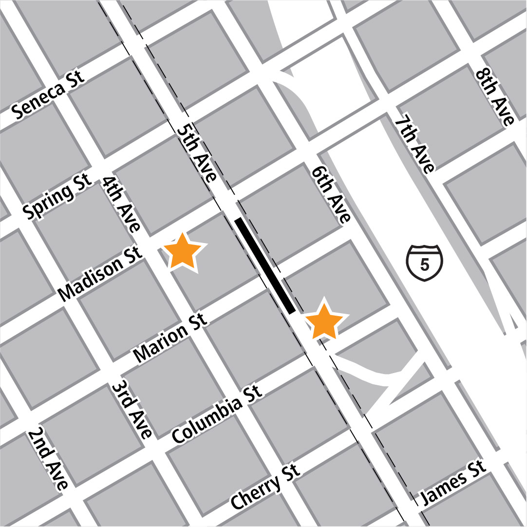 Map with black rectangle indicating station location on 5th Avenue and yellow stars indicating two station entry areas.