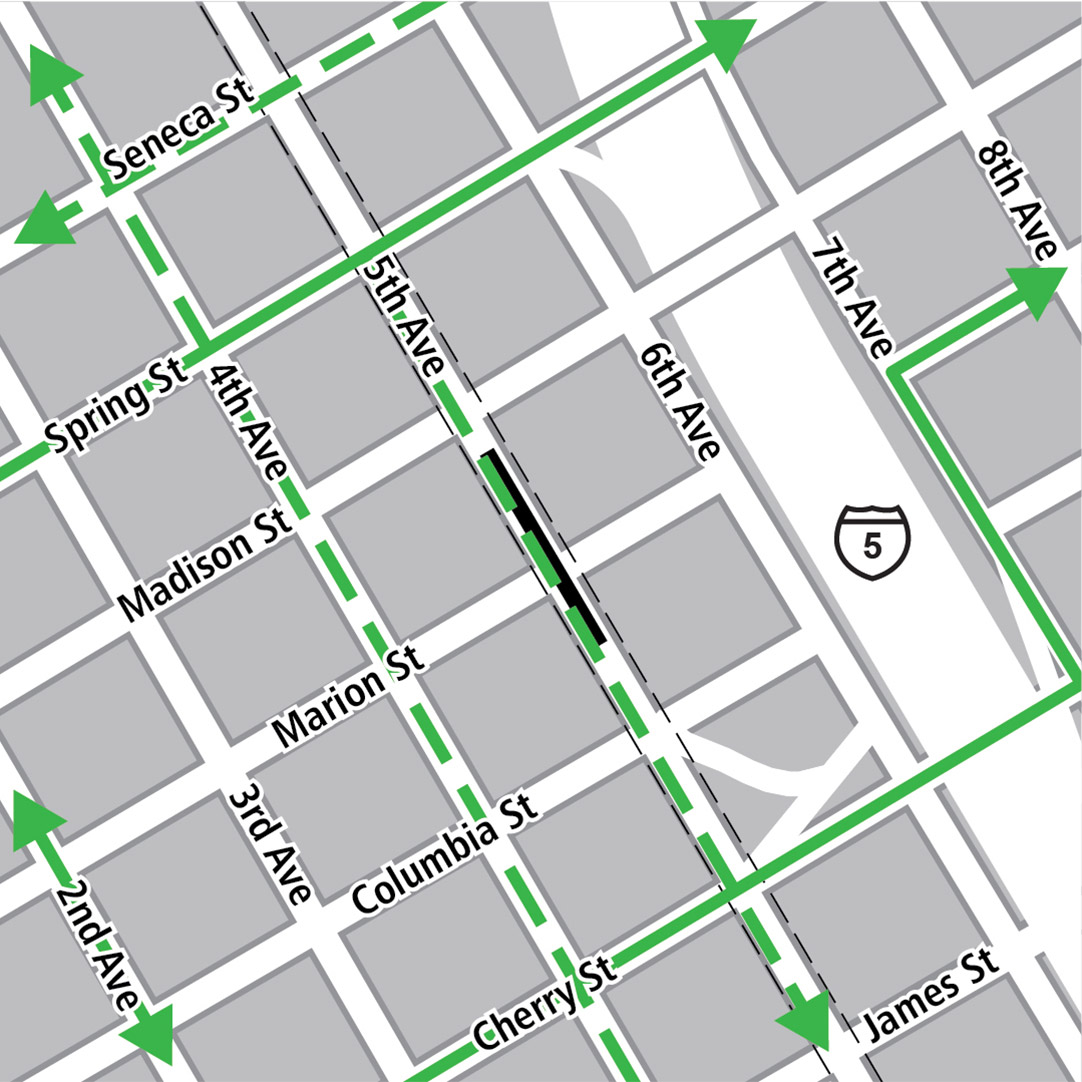 Map with black rectangle indicating station location on 5th Avenue, green lines indicating existing bike routes and dashed green lines for planned bike routes.