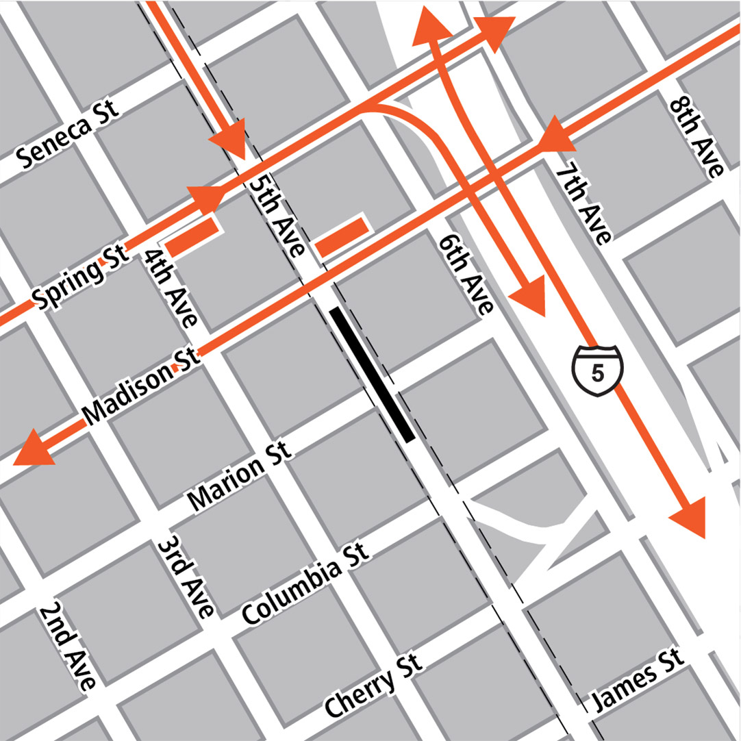 Map with black rectangle indicating station location on 5th Avenue, orange rectangles indicating bus stops and orange lines indicating bus routes on 5th Avenue, Spring Street, Madison Street and Interstate 5.