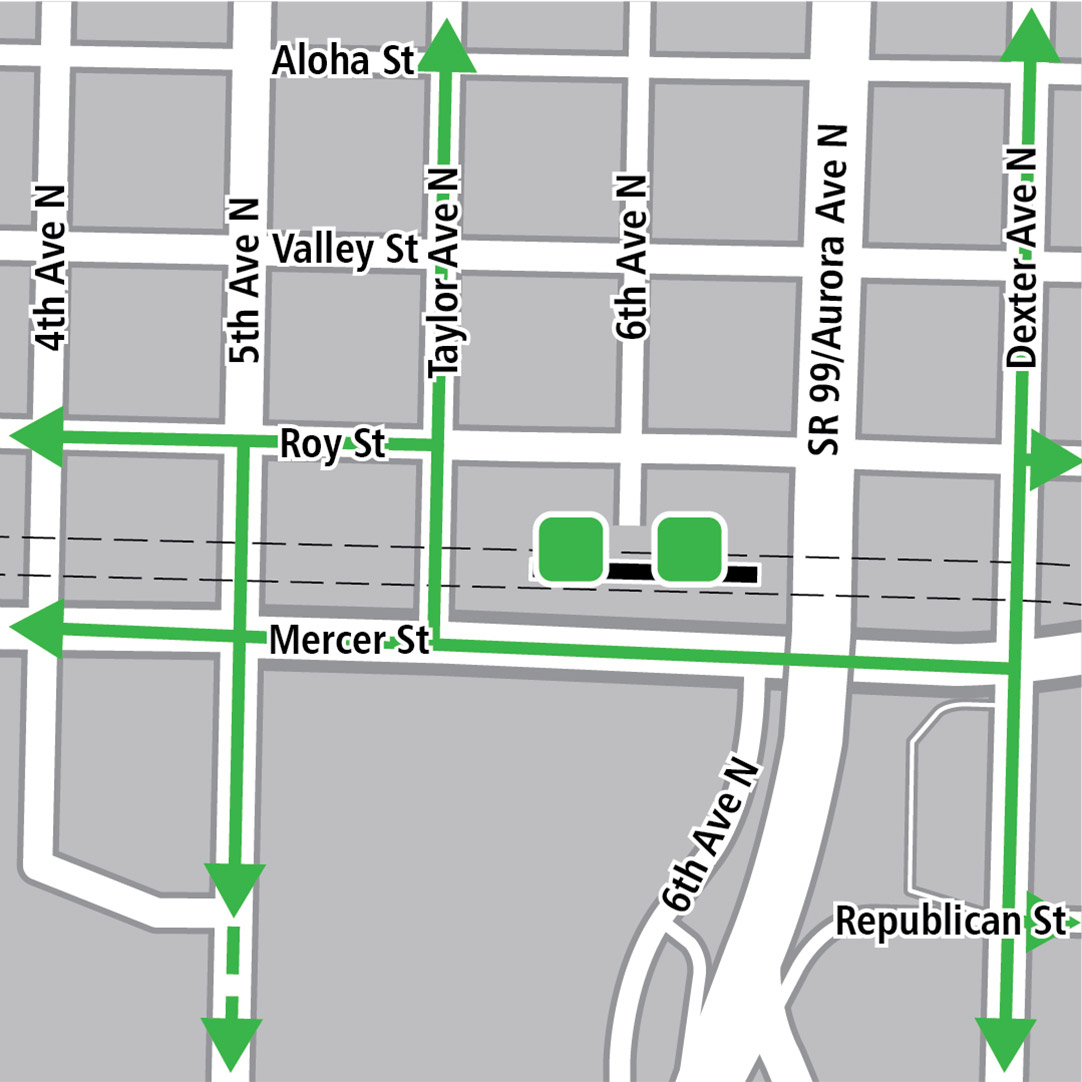 Map with black rectangle indicating station location on Mercer Street, green lines indicating existing bike routes, dashed green lines for planned bike routes and green squares indicating bike storage areas.