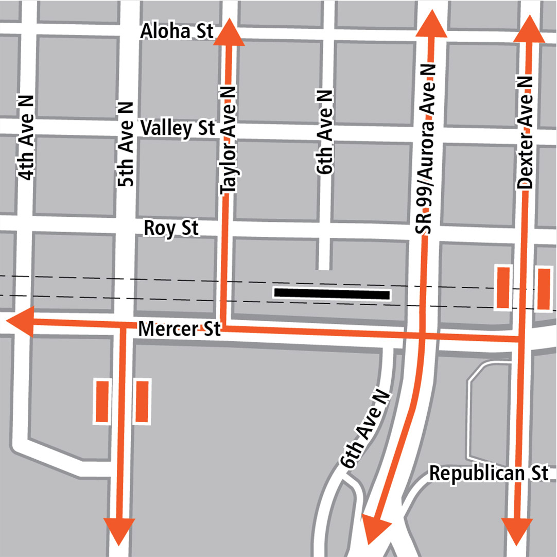 Map with black rectangle indicating station location on Mercer Street, orange rectangles indicating bus stops and orange lines indicating bus routes.
