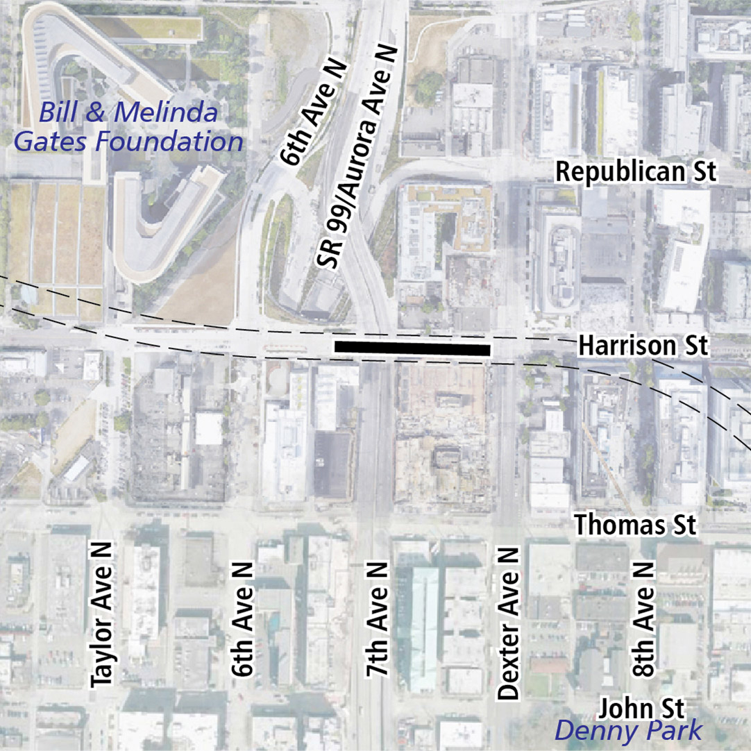 Map with black rectangle indicating station location on Harrison Street. Map labels show the Bill and Melinda Gates Foundation and Denny Park nearby.
