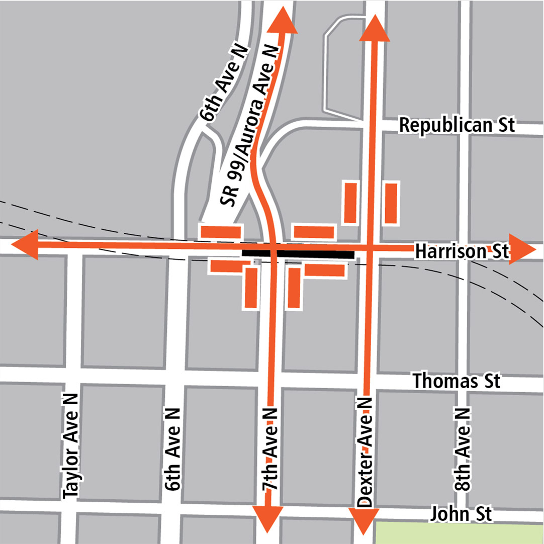 Map with black rectangle indicating station location on Harrison Street, orange rectangles indicating bus stops and orange lines indicating bus routes.