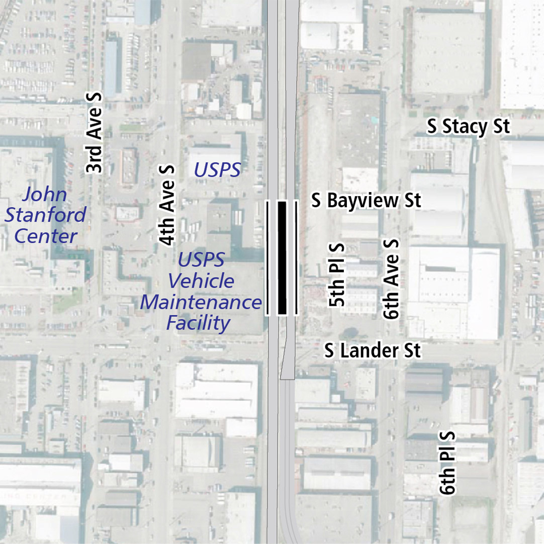 Map with black rectangle indicating station location between 4th Avenue South and 6th Avenue South. Map labels show KCM Power, USPS, John Stanford Center, USPS Vehicle Maintenance Facility and Republic Services nearby.