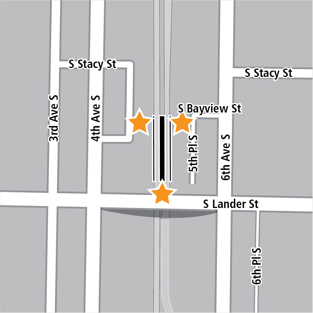 Map with black rectangle indicating station location between 4th Avenue South and 6th Avenue South and yellow stars indicating three station entry areas.