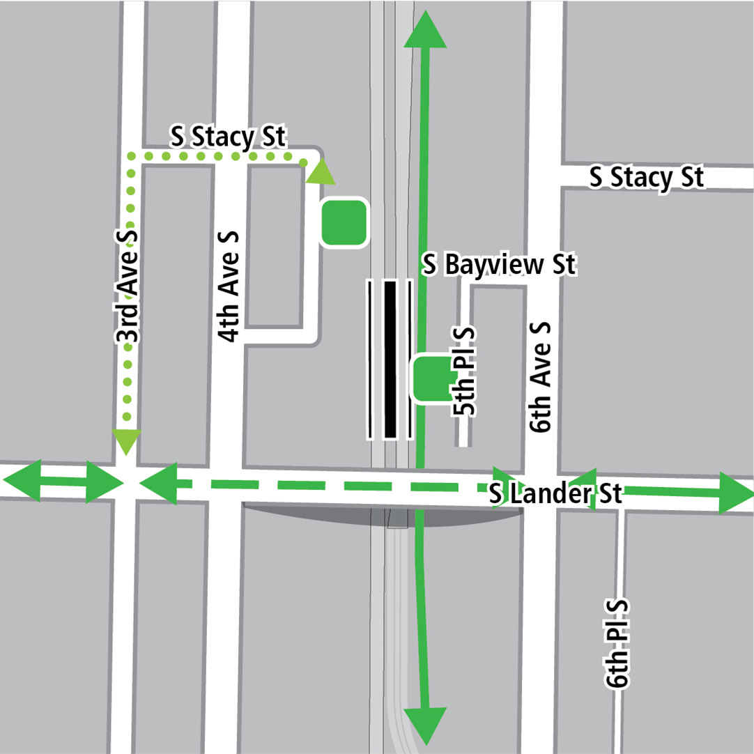 Map with black rectangle indicating station location between 4th Avenue South and 6th Avenue South, green lines indicating existing bike routes, dotted light green lines for potential bike connections and green squares indicating bike storage areas.