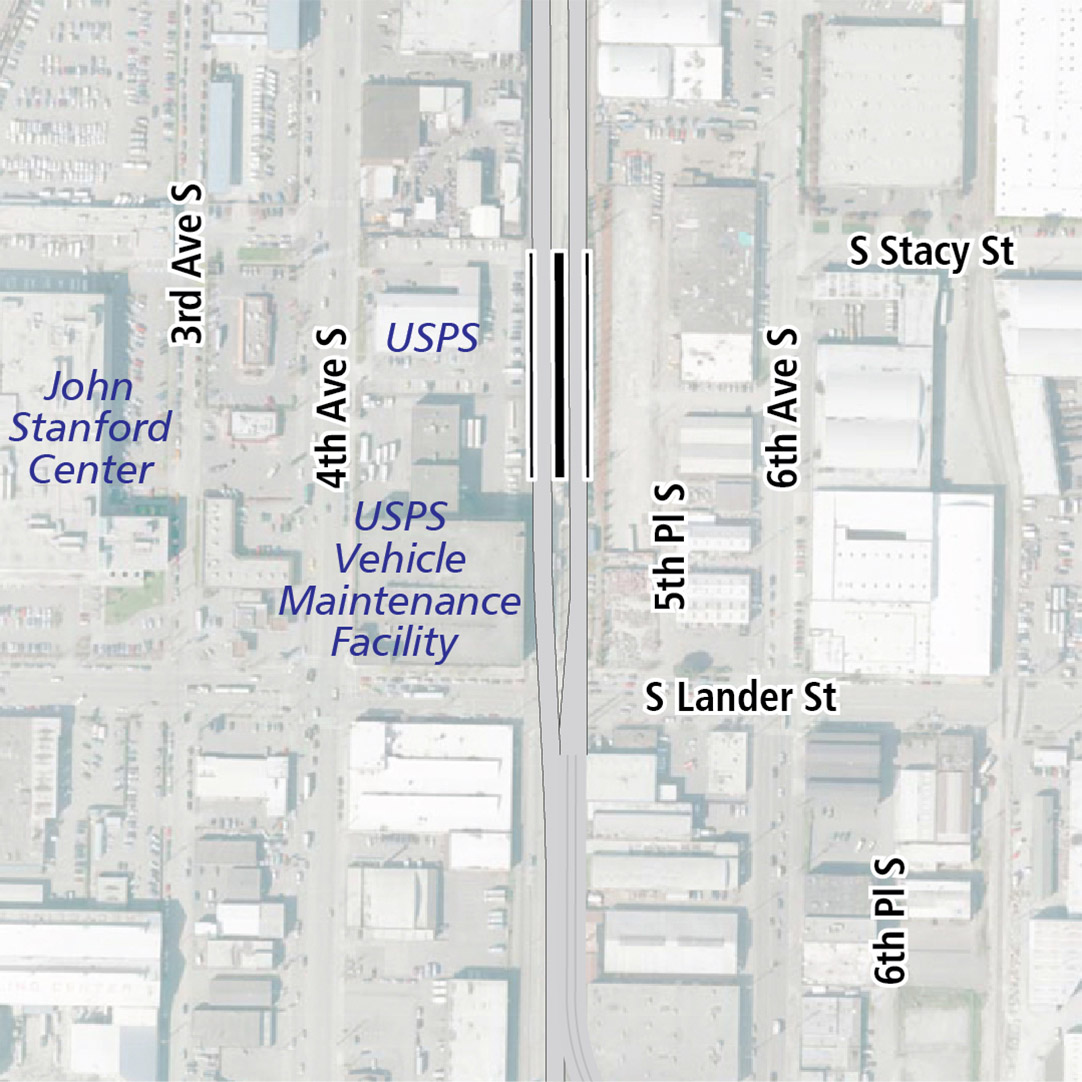 Map with black rectangle indicating station location adjacent to existing SODO station. Map labels show KCM Power, USPS, John Stanford Center, and USPS Vehicle Maintenance Facility nearby.