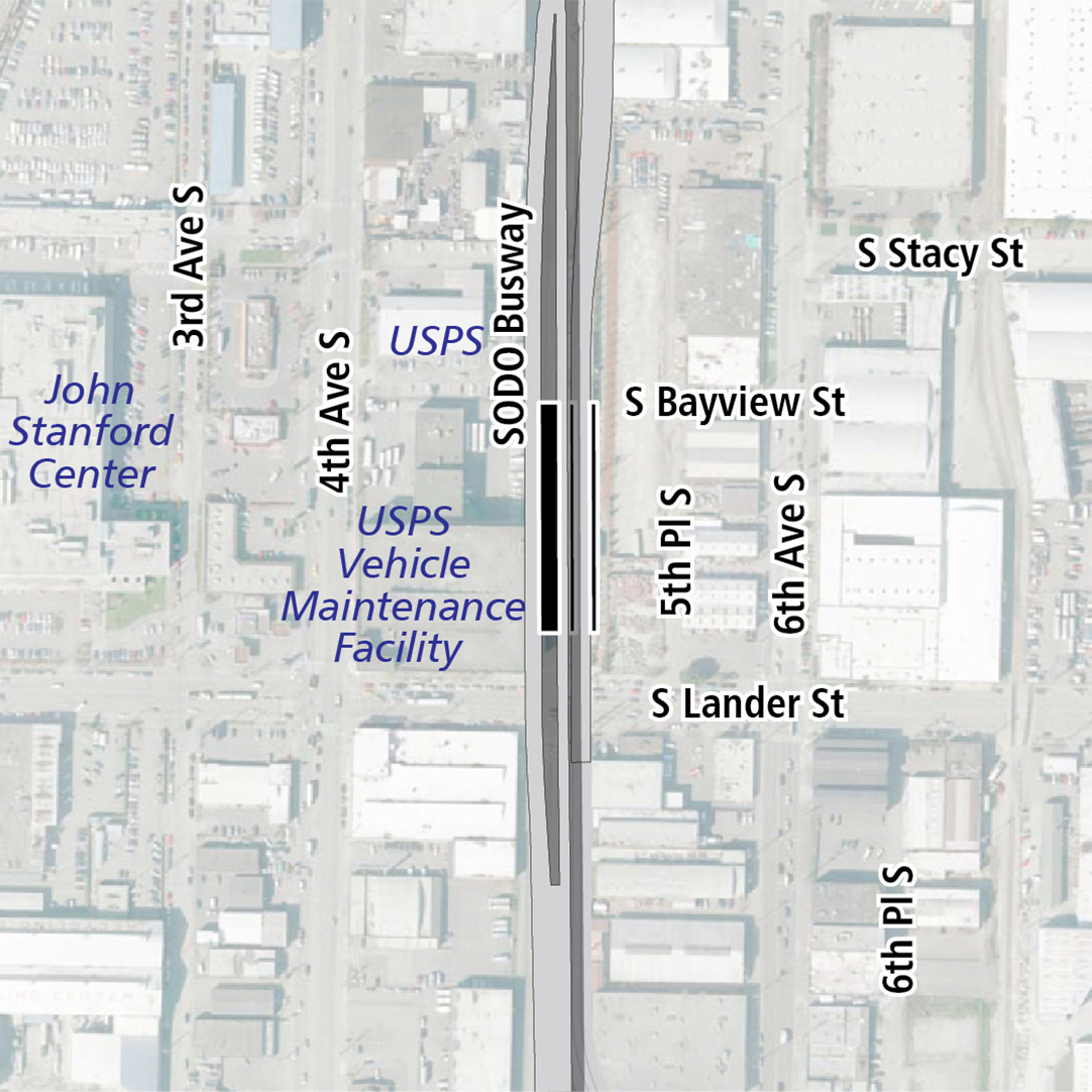 Map with black rectangle indicating station location between 4th Avenue South and 6th Avenue South. Map labels show KCM Power, USPS, John Stanford Center, and USPS Vehicle Maintenance Facility nearby.