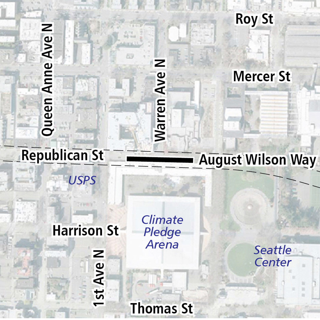 Map with black rectangle indicating station location on Republican Street. Map labels show USPS, Climate Pledge Arena and Seattle Center nearby.