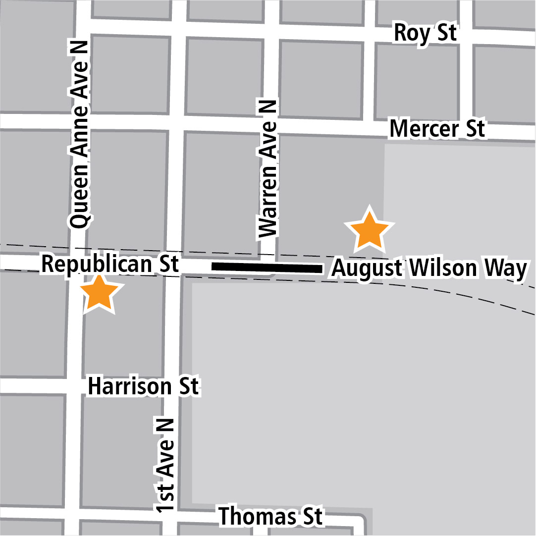 Map with black rectangle indicating station location on West Republican Street and yellow stars indicating two station entry areas.
