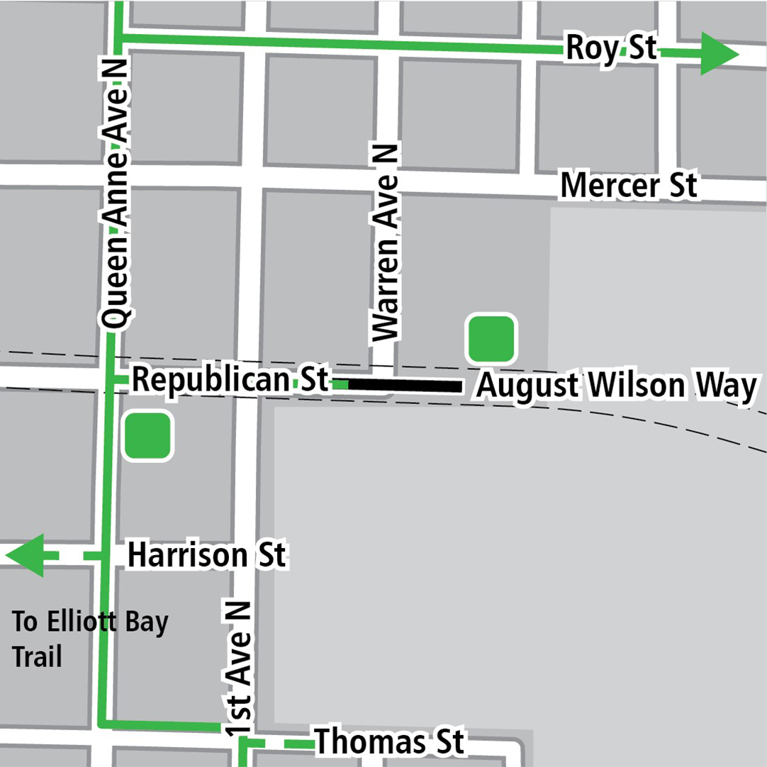 Map with black rectangle indicating station location on   Republican Street, green lines indicating existing bike routes, dashed green lines for planned bike routes and green squares indicating bike storage areas.