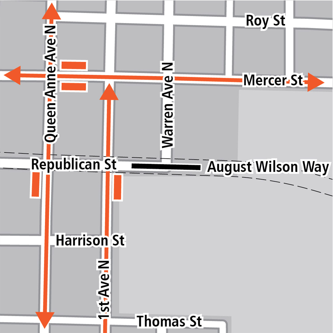 Map with black rectangle indicating station location on Republican Street, orange rectangles indicating bus stops and orange lines indicating bus routes on Queen Anne Avenue North, 1st Avenue North and Mercer Street