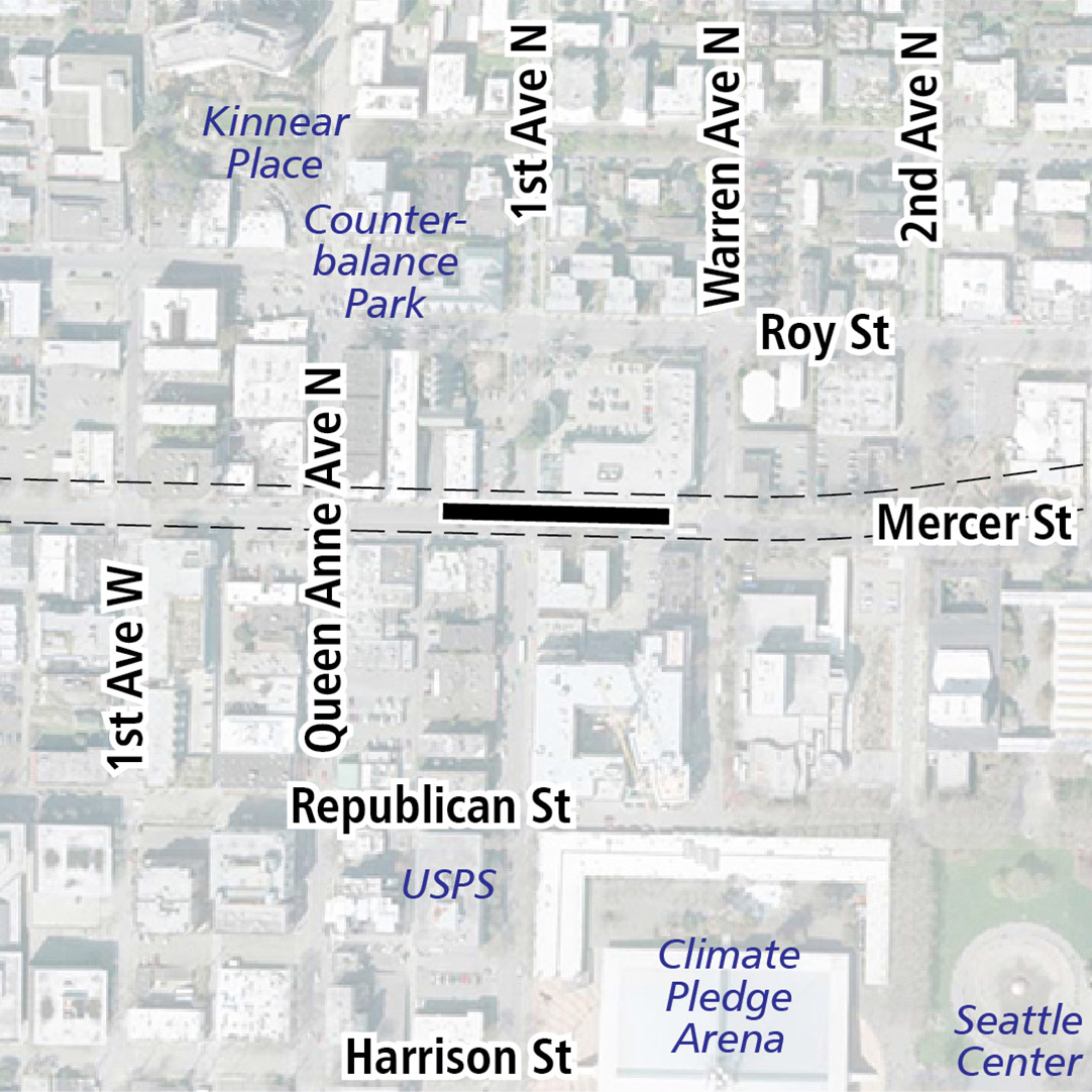 Map with black rectangle indicating station location on Mercer Street. Map labels show Kinnear Place, Counterbalance Park, Metropolitan Market, USPS, Climate Pledge Arena and Seattle Center nearby.