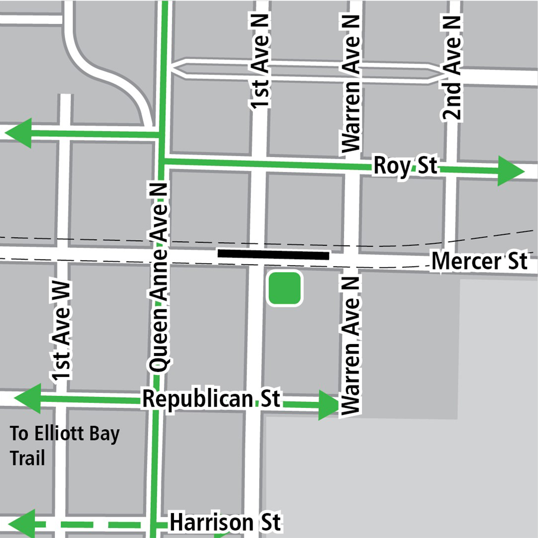 Map with black rectangle indicating station location on Mercer Street, green lines indicating existing bike routes, dashed green lines for planned bike routes and a green square indicating a bike storage area.