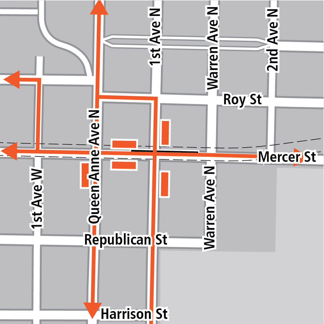 Map with black rectangle indicating station location on Mercer Street, orange rectangles indicating bus stops and orange lines indicating bus routes on 1st Avenue West, Queen Anne Avenue North, 1st Avenue North and Mercer Street.