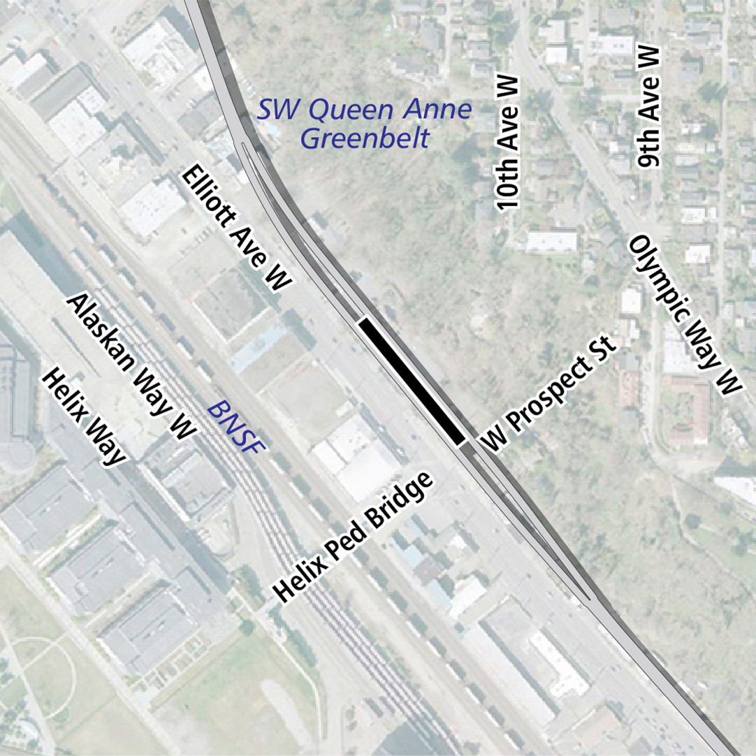 Map with black rectangle indicating station location on Elliot Avenue West. Map labels show Southwest Queen Anne Greenbelt, BNSF and businesses nearby.