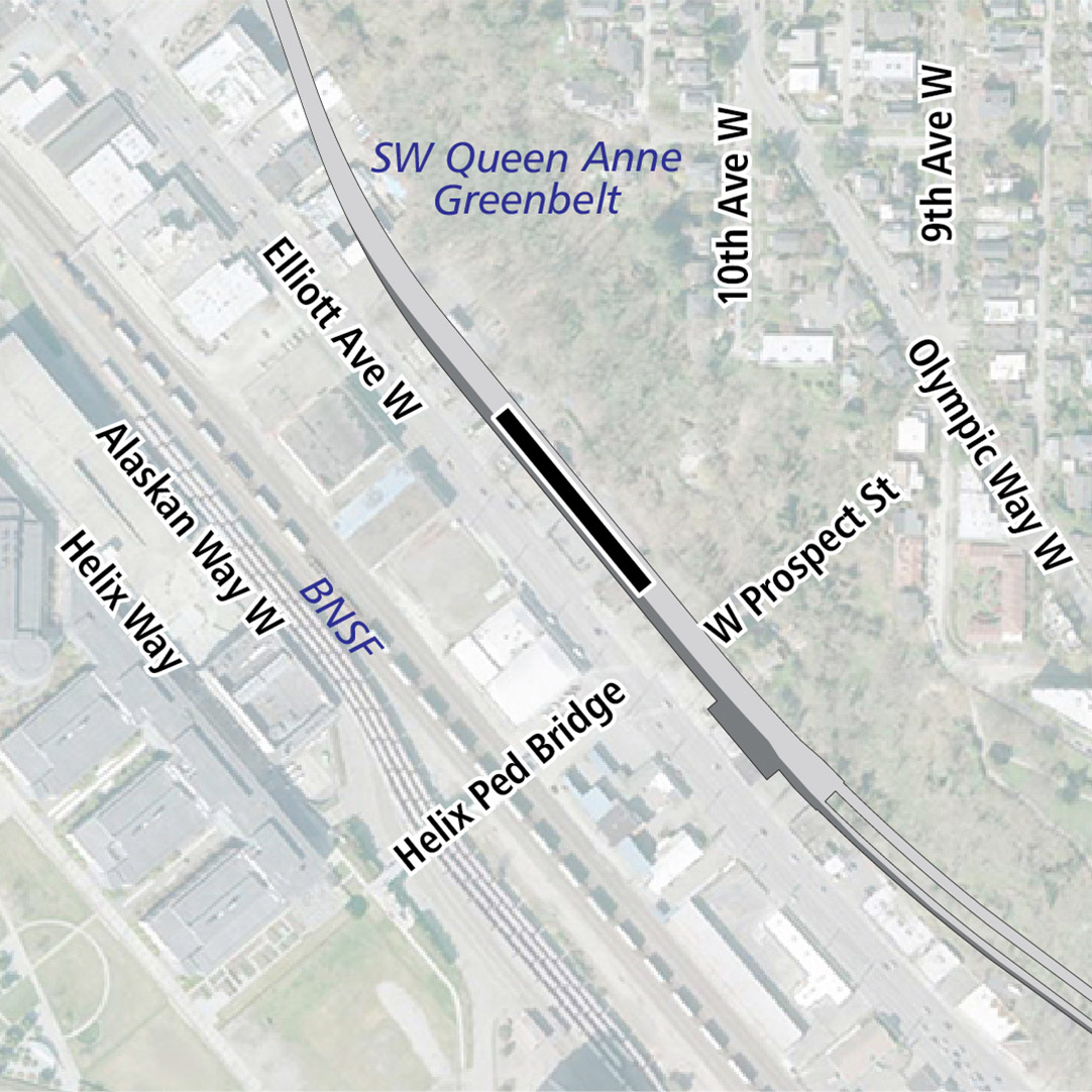 Map with black rectangle indicating station location on Elliott Avenue West. Map labels show Southwest Queen Anne Greenbelt, BNSF railroad tracks and businesses nearby.