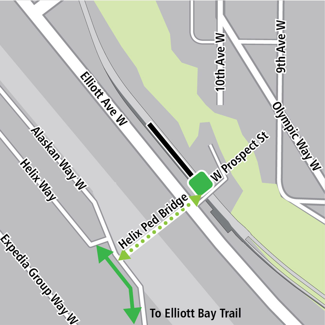 Map with black rectangle indicating station location on Elliott Avenue West, a dashed green line indicating a planned bike route along Elliot Ave W, a dashed light green line indicating a potential bike connection and a green square indicating a bike storage area.